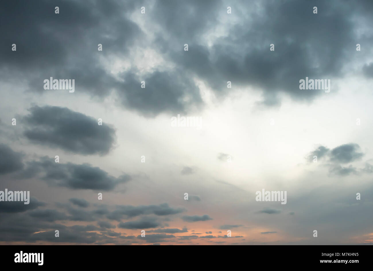 Colourful backgrounds sky overlay. Cloudy sky with grey tones - Stock Image