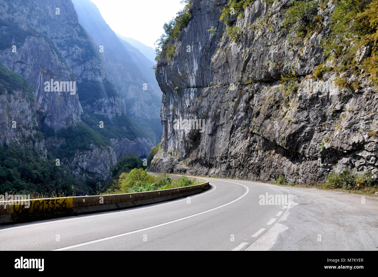 A picturesque journey along the roads of Montenegro among rocks and tunnels. Stock Photo