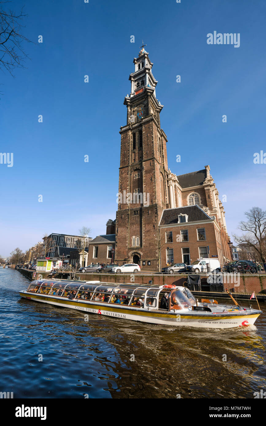 The Prinsengracht with the Westertoren / Westerkerk, Amsterdam, The Netherlands - Stock Image