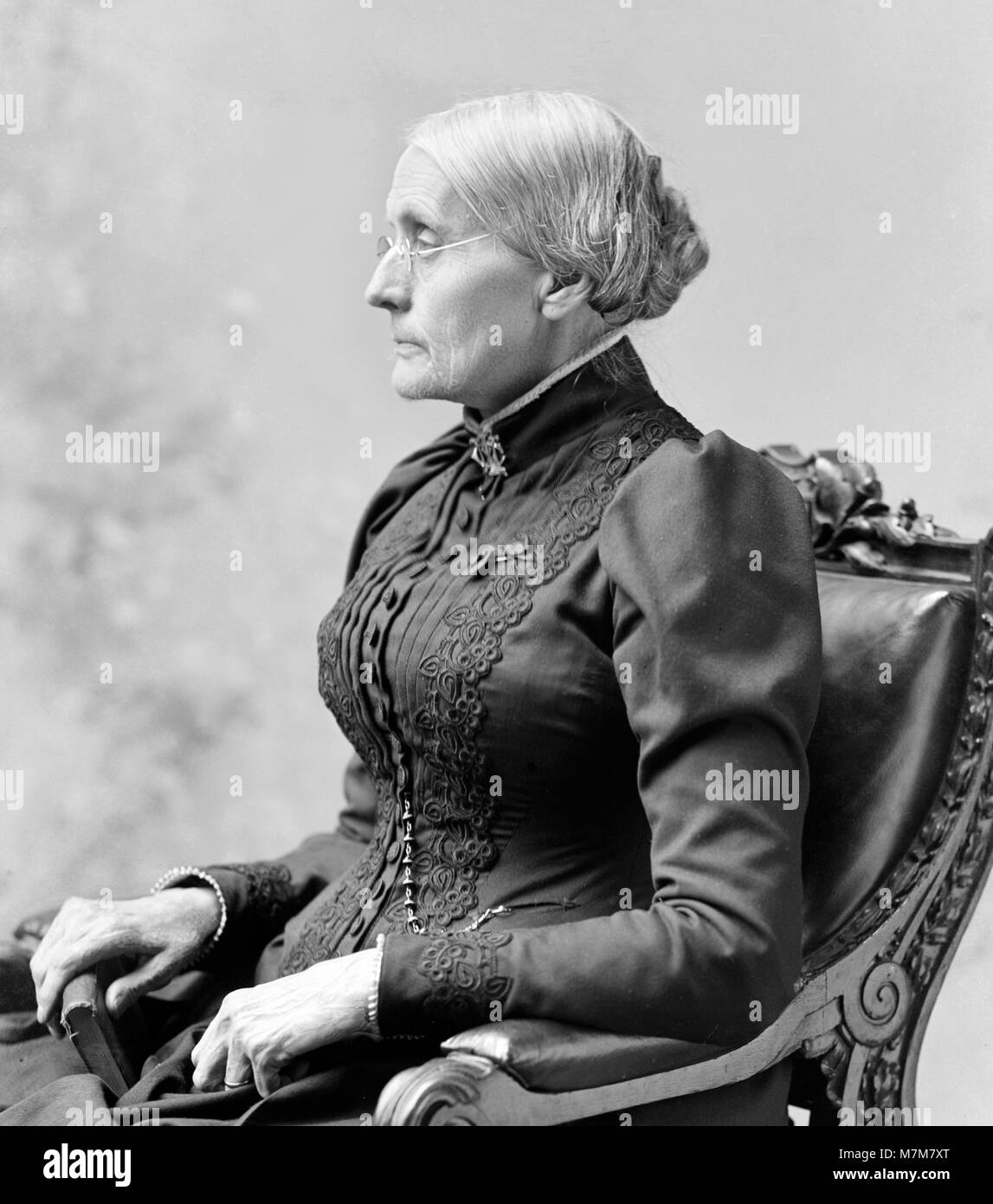 Susan B Anthony. Portrait of Susan Brownell Anthony (1820-1906), American suffragists and social reformer, by C Stock Photo