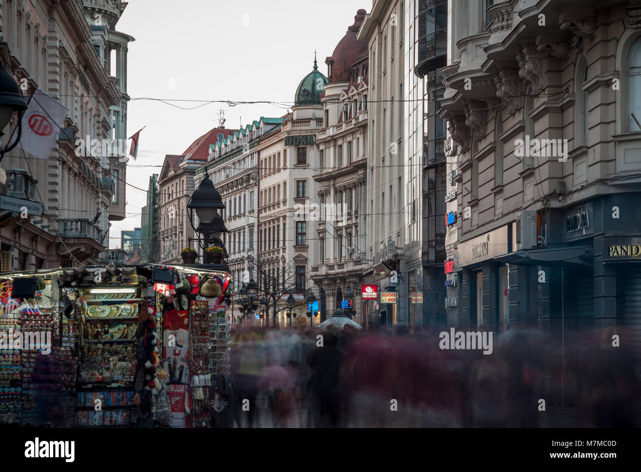 BELGRADE, SERBIA - MARCH 11, 2018: Kneza Mihailova street at dawn, crowded. Also known as Knez Mihaila, this is - Stock Image