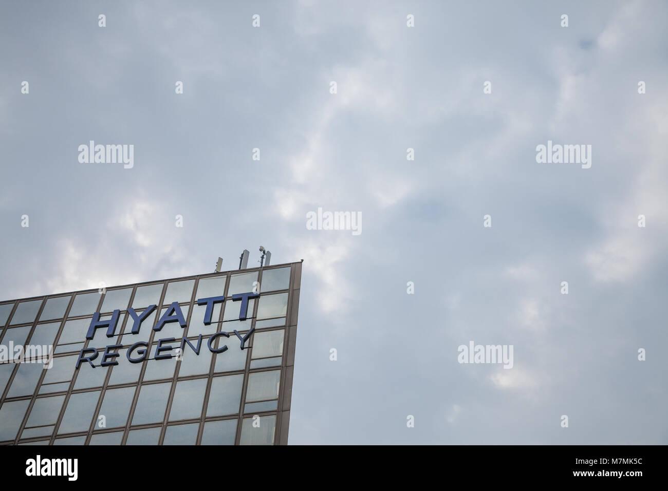 BELGRADE, SERBIA - MARCH 2, 2018: Hyatt Regency logo on their main hotel in Serbia. Hyatt Hotels Corporation is - Stock Image