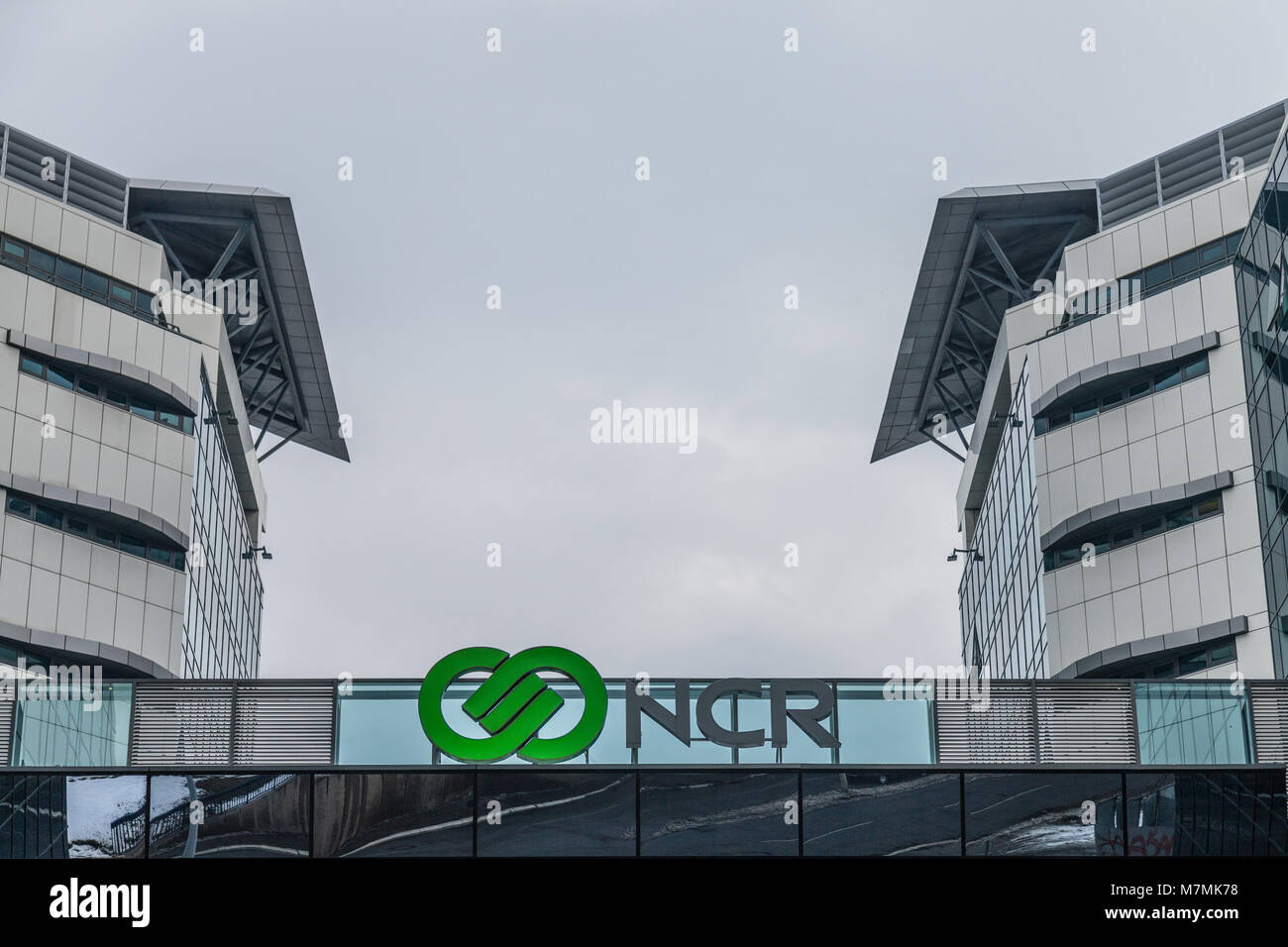 BELGRADE, SERBIA - MARCH 3, 2018: NCR Corporation logo on their main office for Serbia. NCR is one of the leading - Stock Image