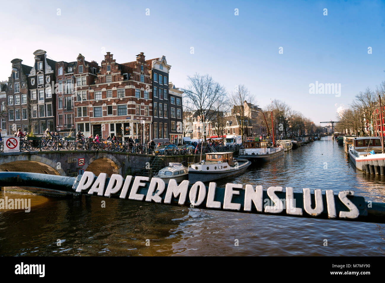 Leaning canal houses on the Prinsengracht / Brouwersgracht, Amsterdam, The Netherlands - Stock Image