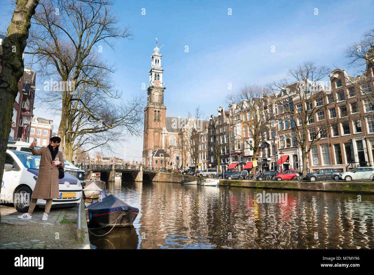 Selfie with The Prinsengracht with the Westertoren / Westerkerk - Stock Image