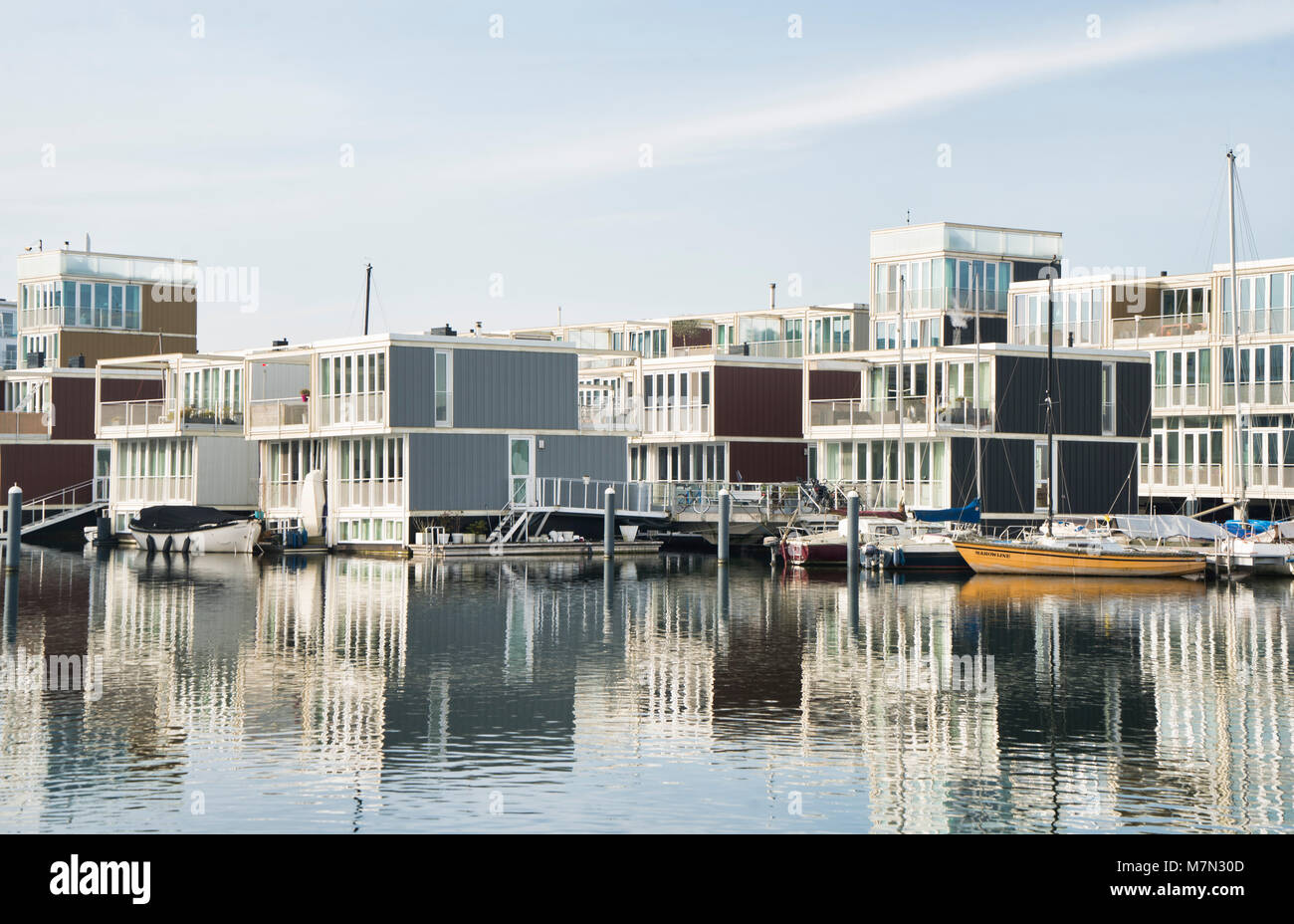 Water houses in IJburg, Amsterdam The Netherlands - Stock Image