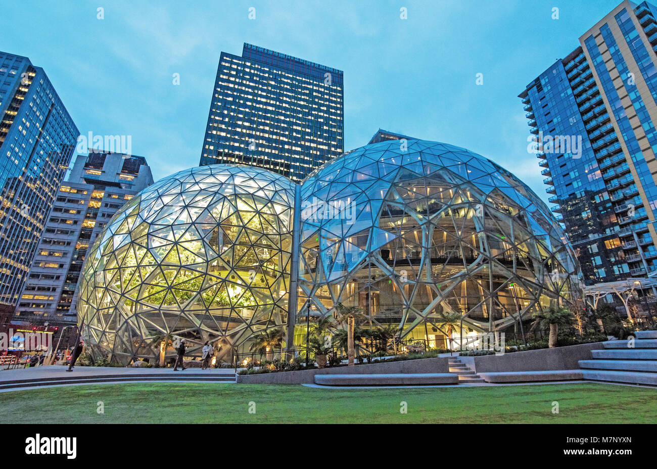 Seattle, Washington, USA - February 21, 2018 The newly completed Amazon Spheres are open providing innovative work Stock Photo