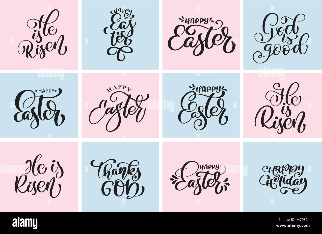 Set Quote Happy Easter He Is Risen Typographic Designs Vector Stock