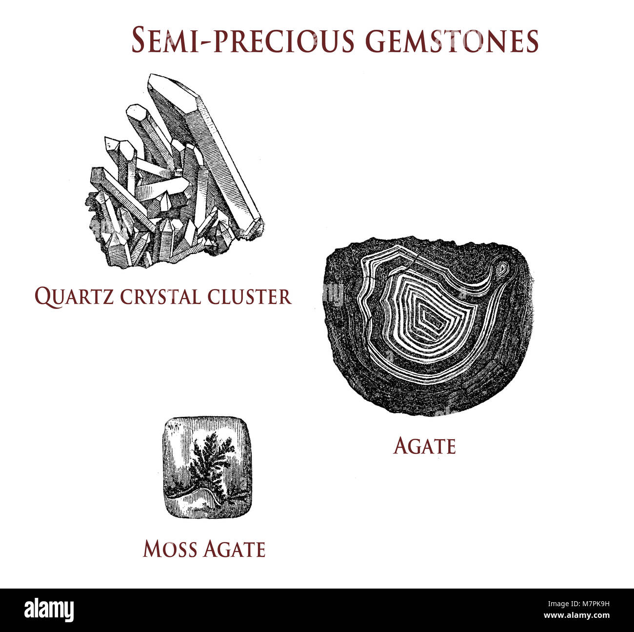 vintage illustration of semi-precious gemstones: quartz, agate and moss agate - Stock Image
