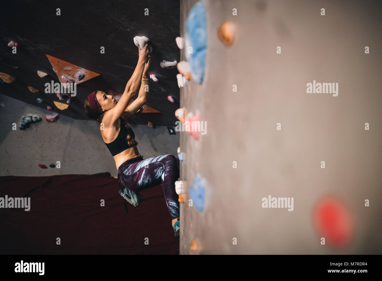 Athletic woman bouldering at an indoor climbing centre. Woman climber holding on the grips while climbing at an - Stock Image