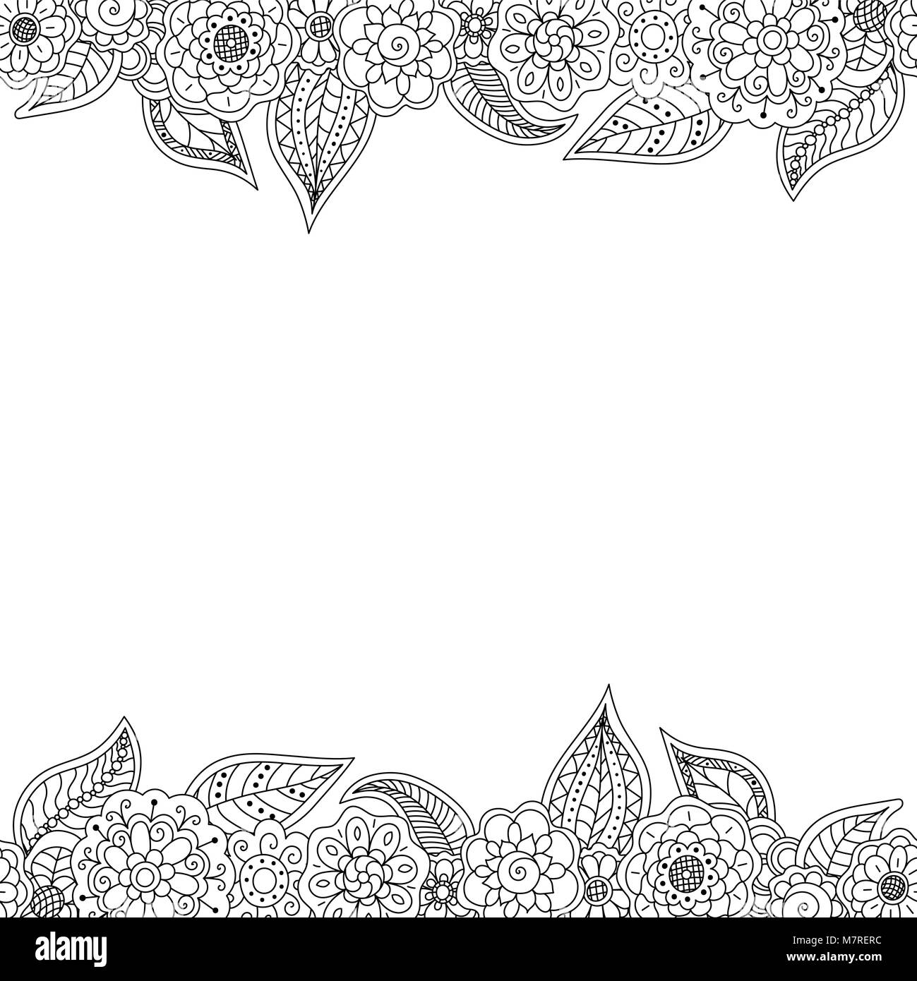 Decorative Black Flower Border Stock Image: Vector Seamless Decorative Border Of Doodle Floral