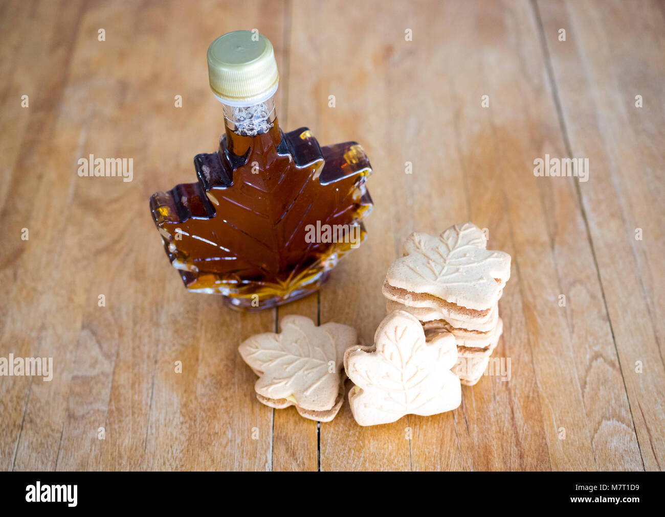 Delicious maple cookies (maple leaf cookies), made with real Canadian maple syrup. - Stock Image