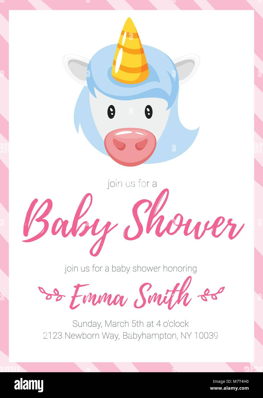 Vector Cartoon Style Illustration Of Baby Shower Invitation Baby