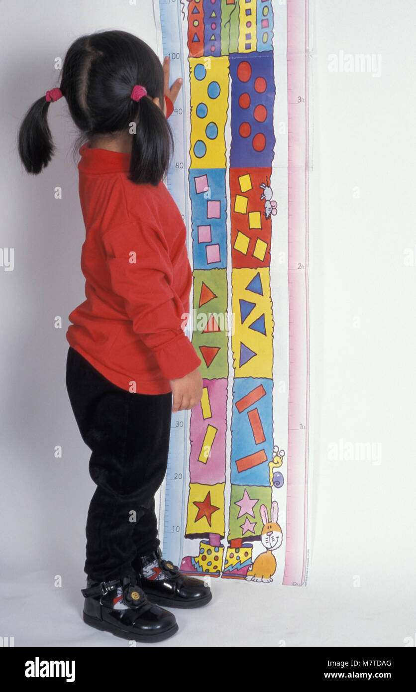 little Chinese girl judging her height on height chart - Stock Image