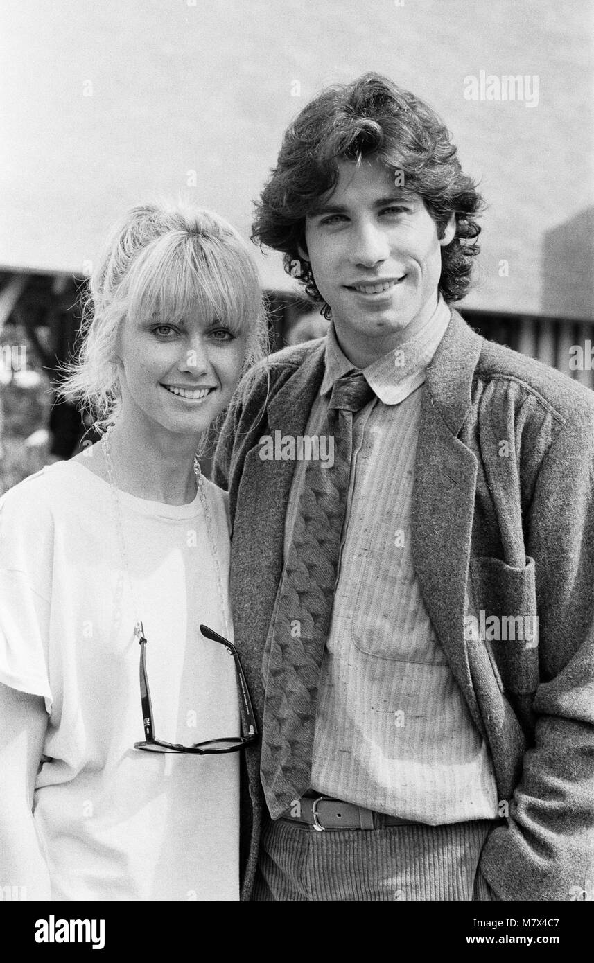 John Travolta and his co star Olivia Newton John in England during the week of release of the film Grease.  Grease - Stock Image