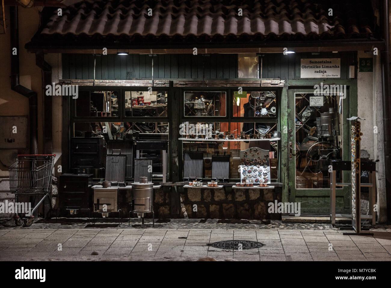 SARAJEVO, BOSNIA AND HERZEGOVINA - FEBRUARY 16, 2018: Shop in a street of the Bascarsija district of Sarajevo, with - Stock Image