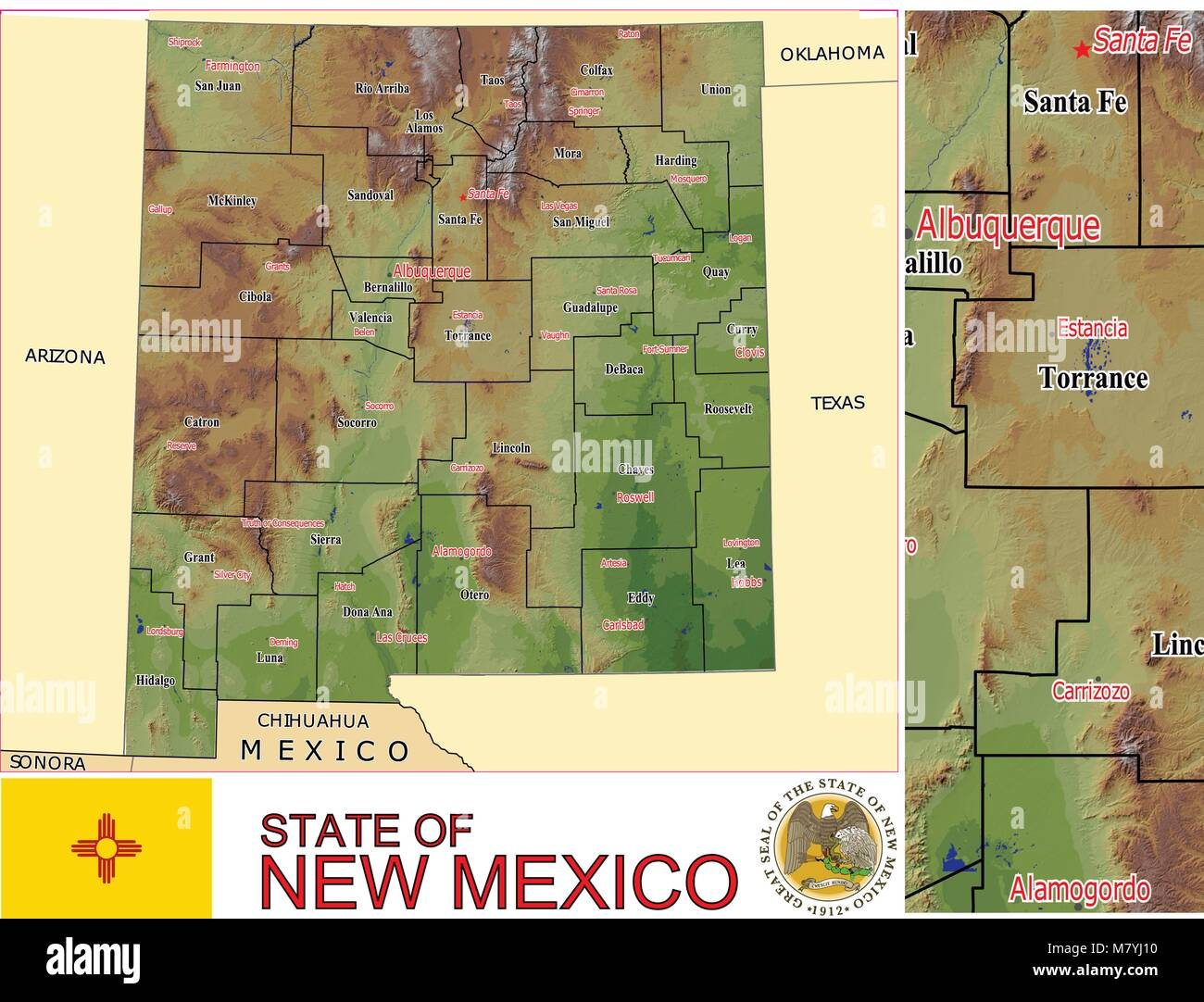 New Mexico State Counties Administrative divisions Stock Vector Art ...