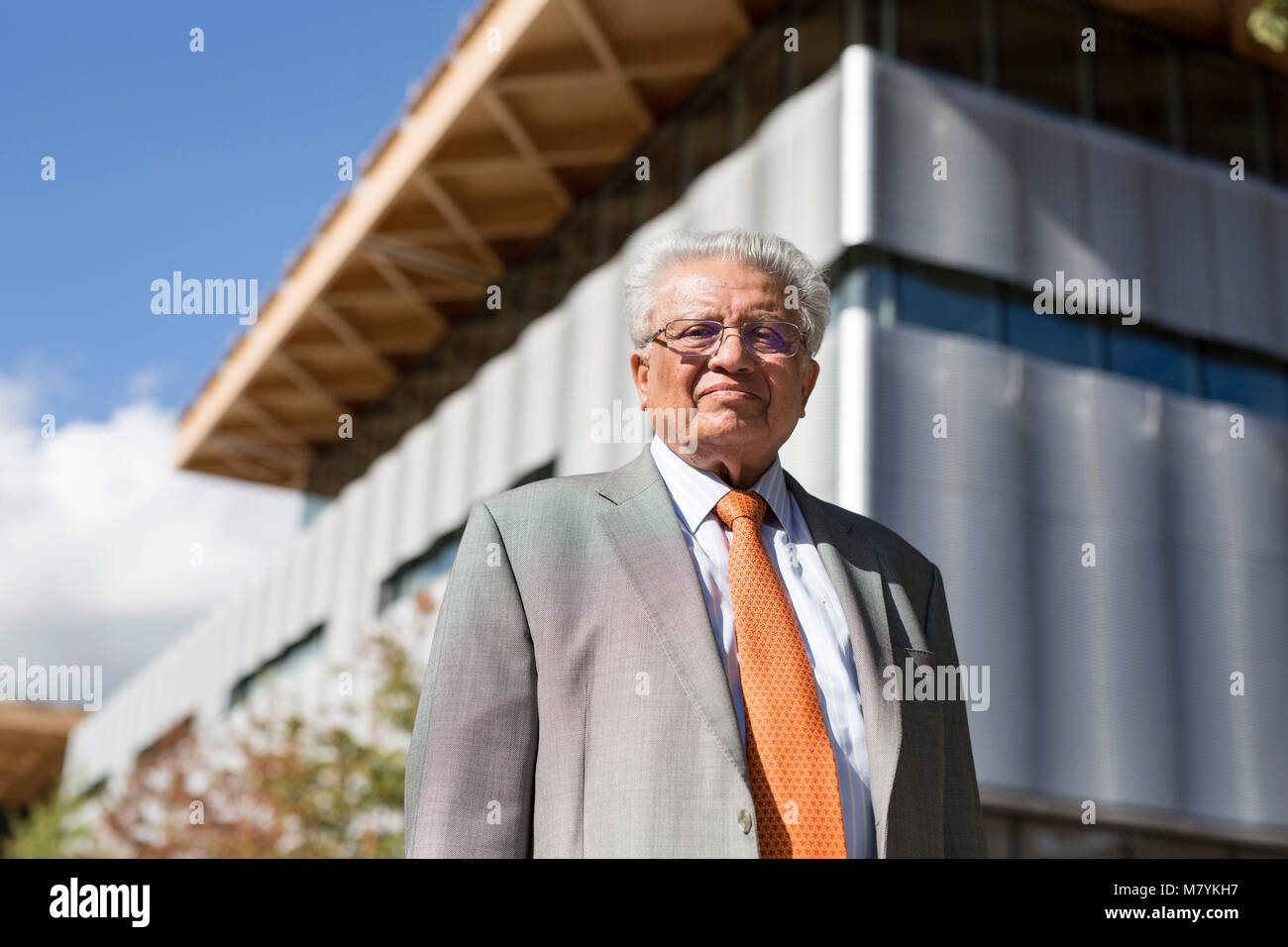 Lord Kumar Bhattacharyya in the International Manufacturing Centre at the University of Warwick. - Stock Image