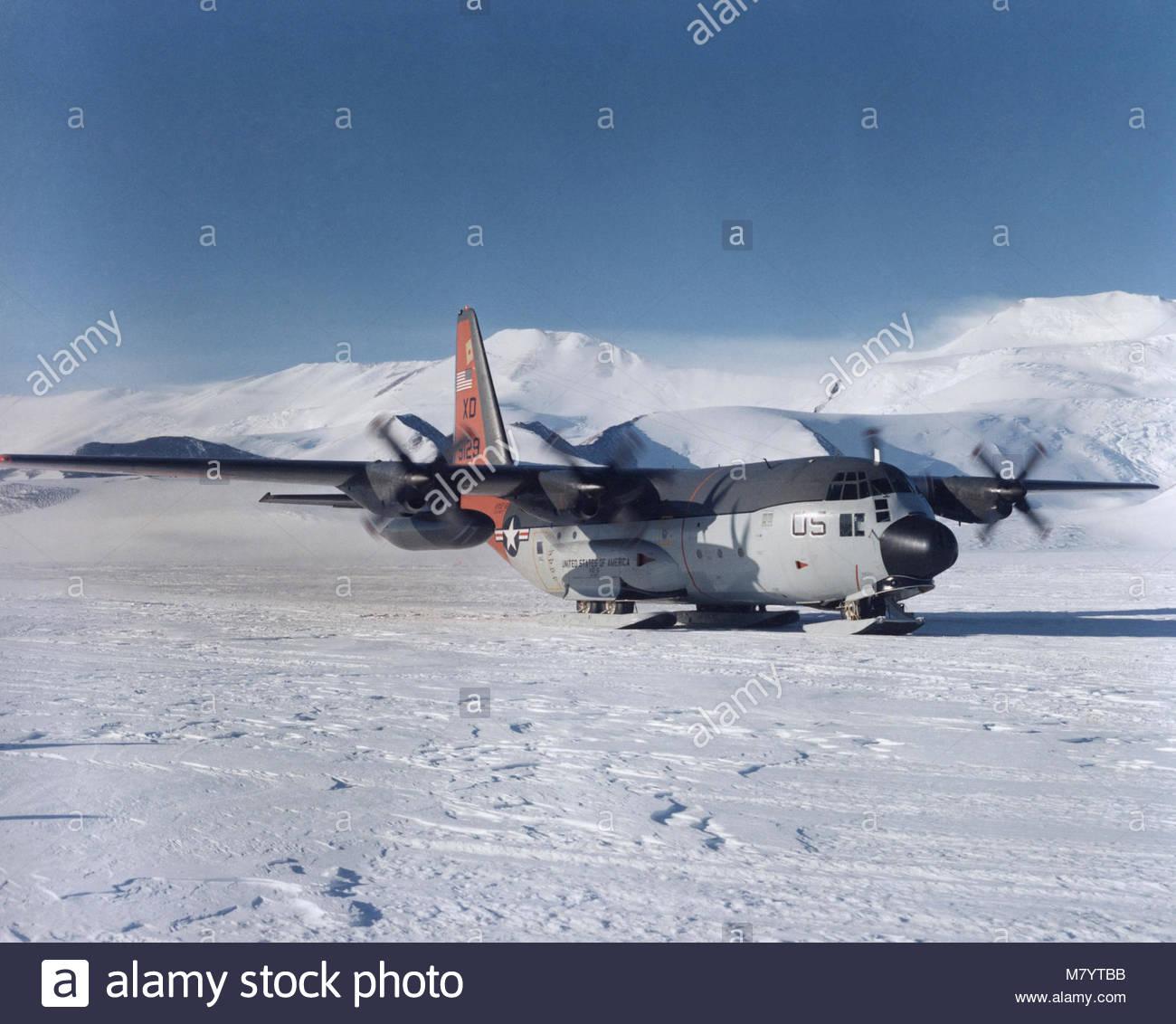 . A Lockheed LC-130H ski-equipped ''Hercules'', Navy's Antarctic Development Squadron 6 (VXE - Stock Image