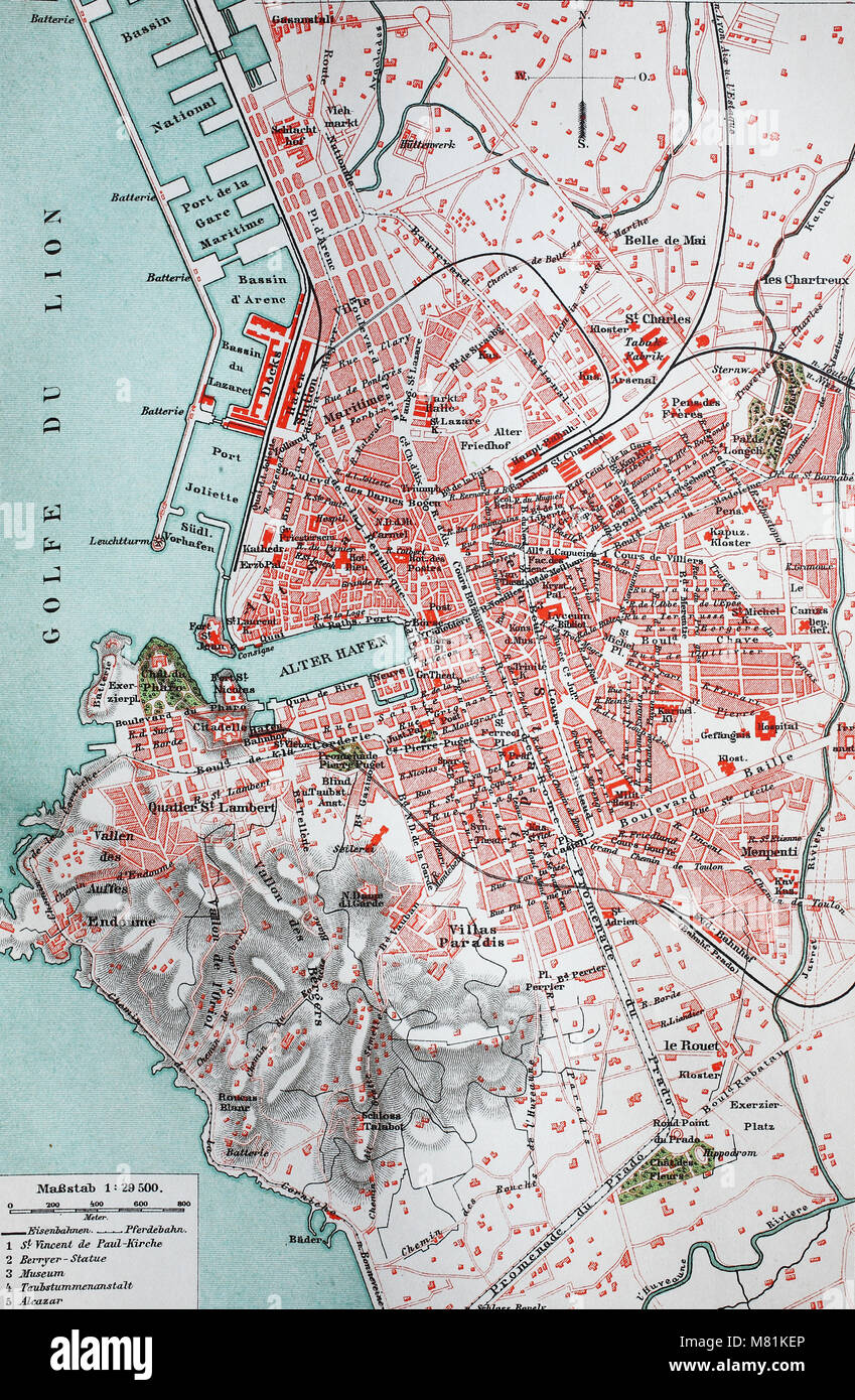 city map from the year 1892 Marseille France digital improved