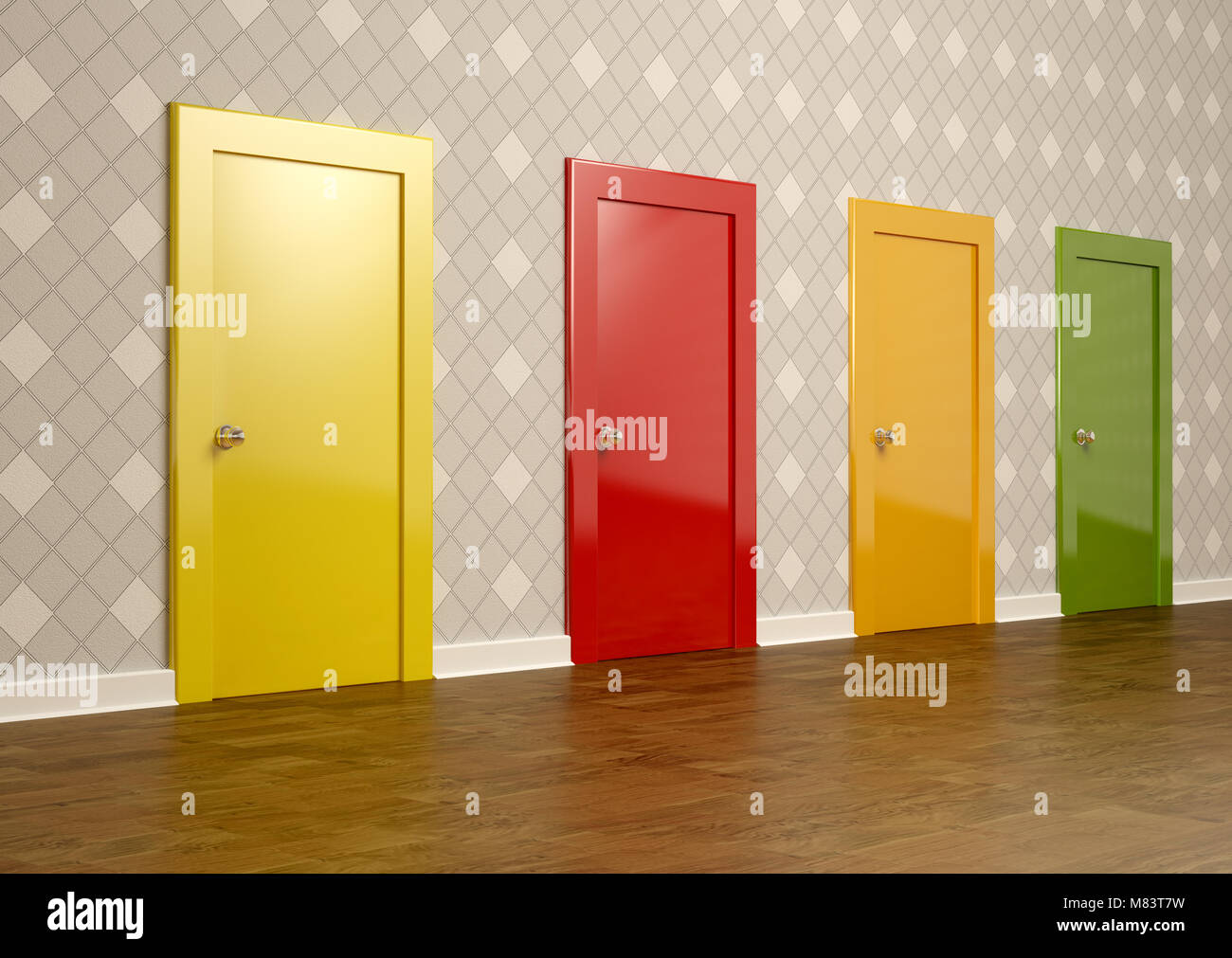 3D rendering of colored doors in a room representing the concept of choice - Stock Image