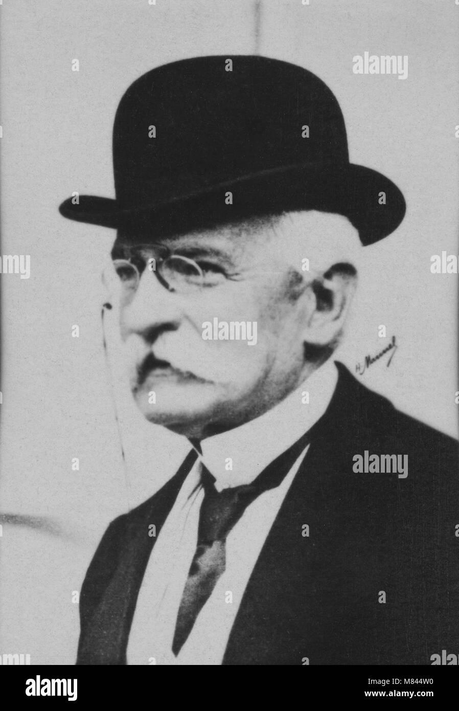 Portrait of the Baron Sydney Sonnino ( 1847 - 1922 ) Italian politician  -  photography by  Henri Manuel ( 1874 - Stock Image