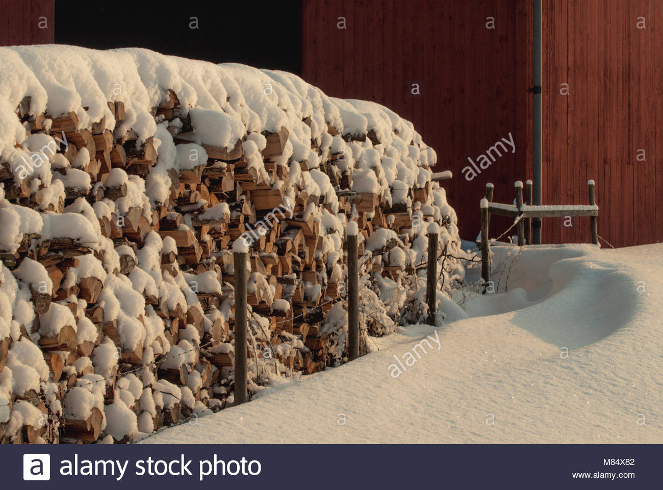 Big pile of small logs for fire. - Stock Image