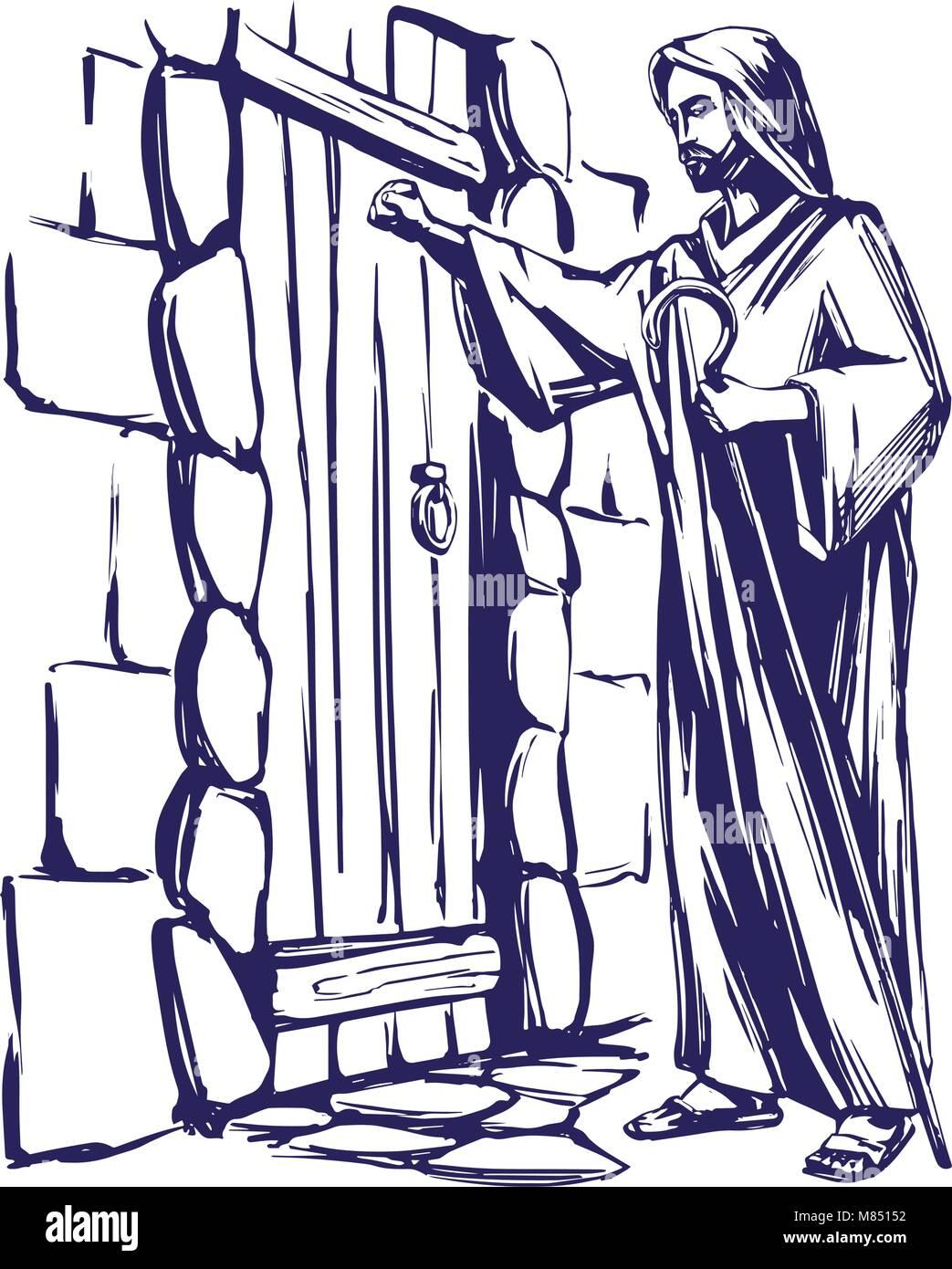 Jesus christ son of god knocking at the door symbol of jesus christ son of god knocking at the door symbol of christianity hand drawn vector illustration altavistaventures Gallery