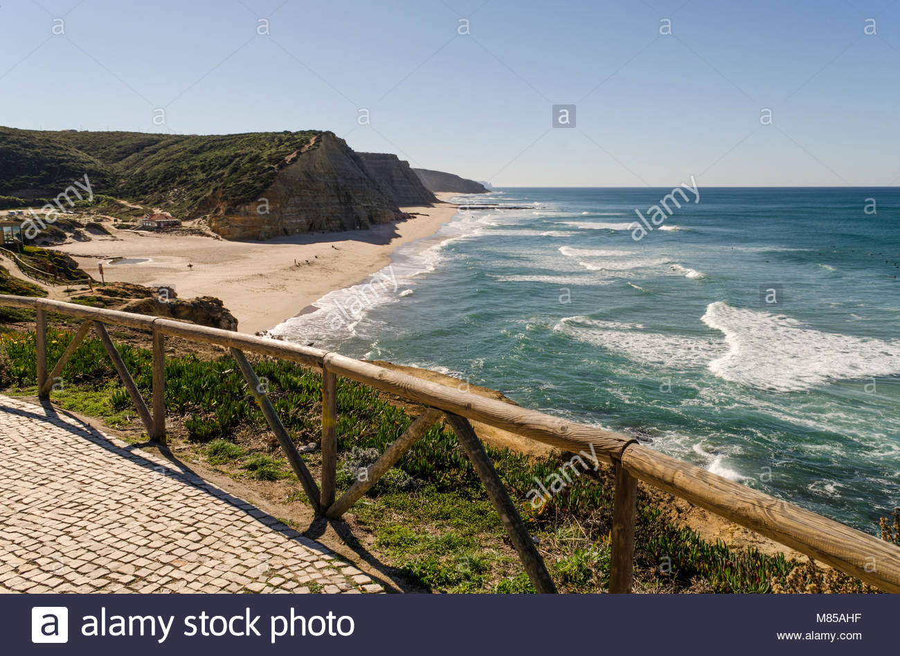 Wonderful beach for surfing, in Bairro sa Jao David Soares, close to Ericeira. - Stock Image