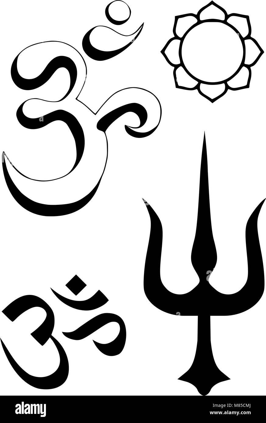 Hindu Religious Symbols Stock Vector Art Illustration Vector