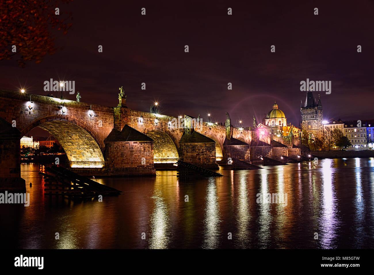 Prague by Night, Europe - Stock Image