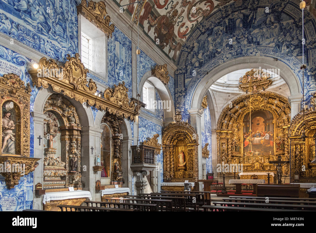 Interior of the Se Cathedral of Viana do Castelo in northern Portugal. - Stock Image