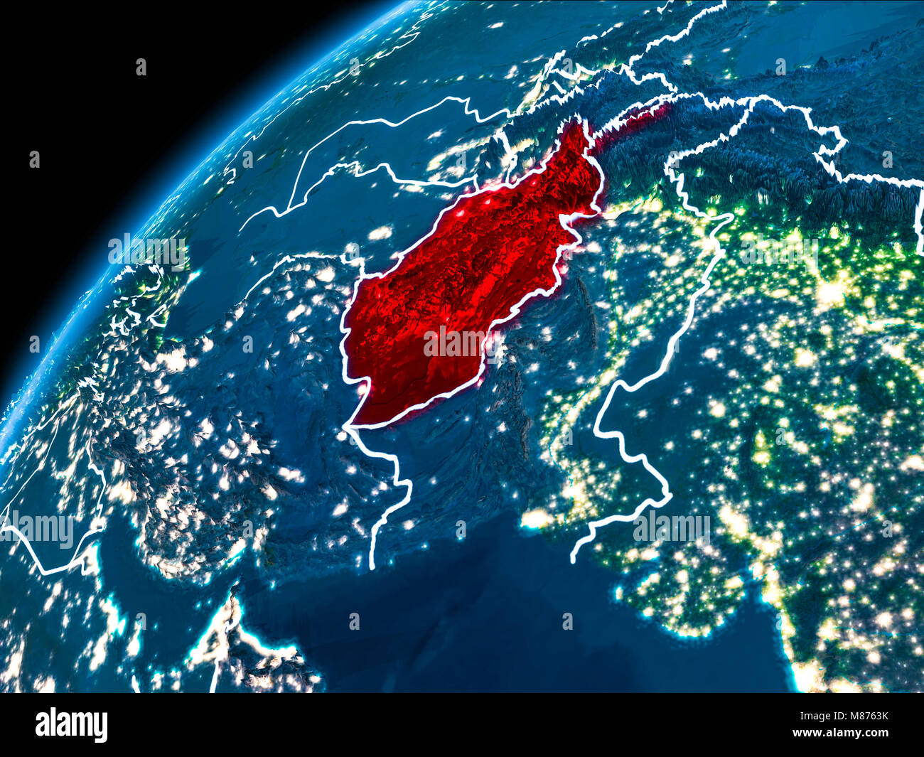 Afghanistan map red border stock photos afghanistan map red border afghanistan highlighted in red from earths orbit at night with visible country borders 3d illustration gumiabroncs Image collections