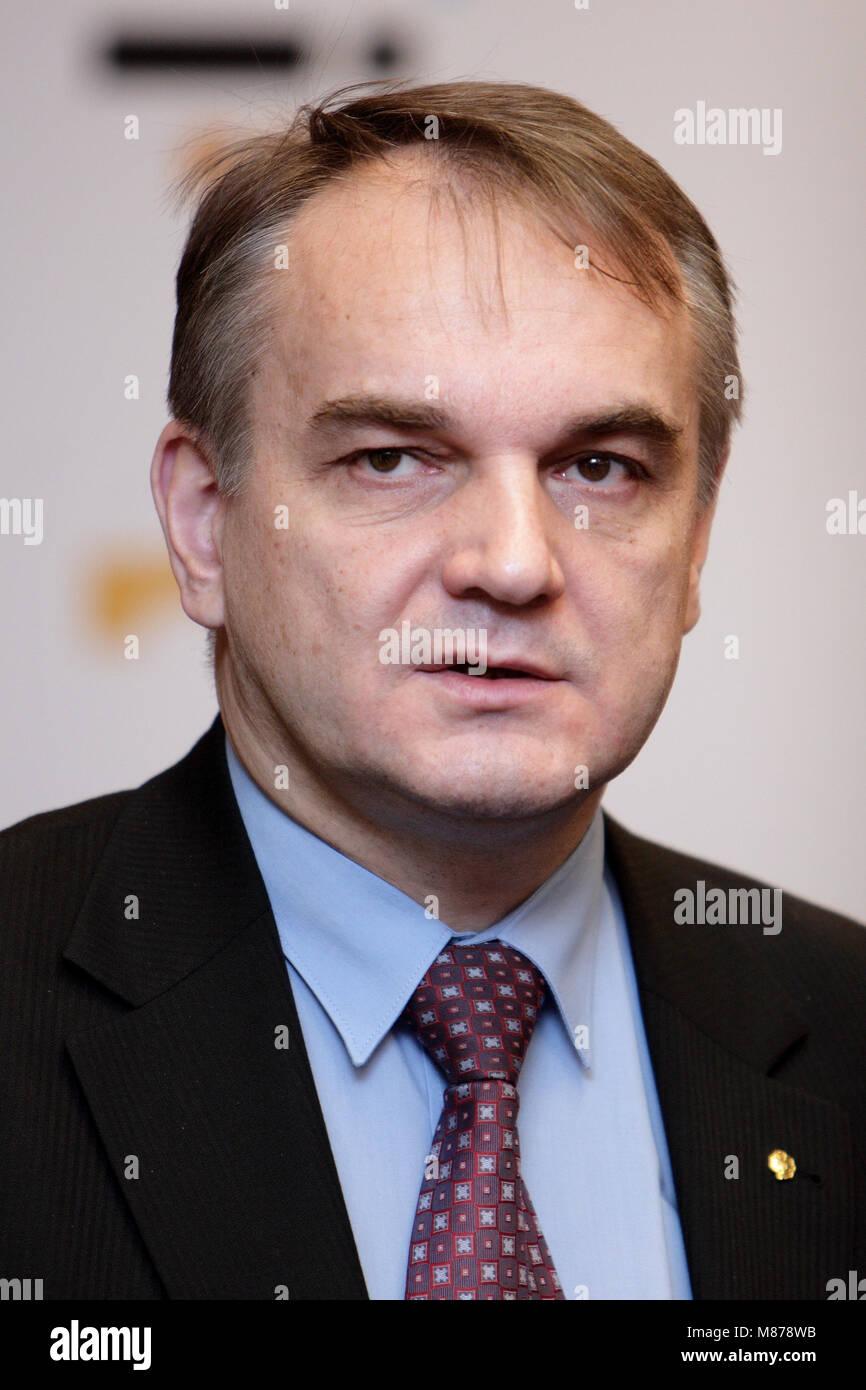 Warsaw, Masovia / Poland - 2008/08/13: Waldemar Pawlak, Deputy Prime Minister of Poland and leader of Polish Peasants' - Stock Image