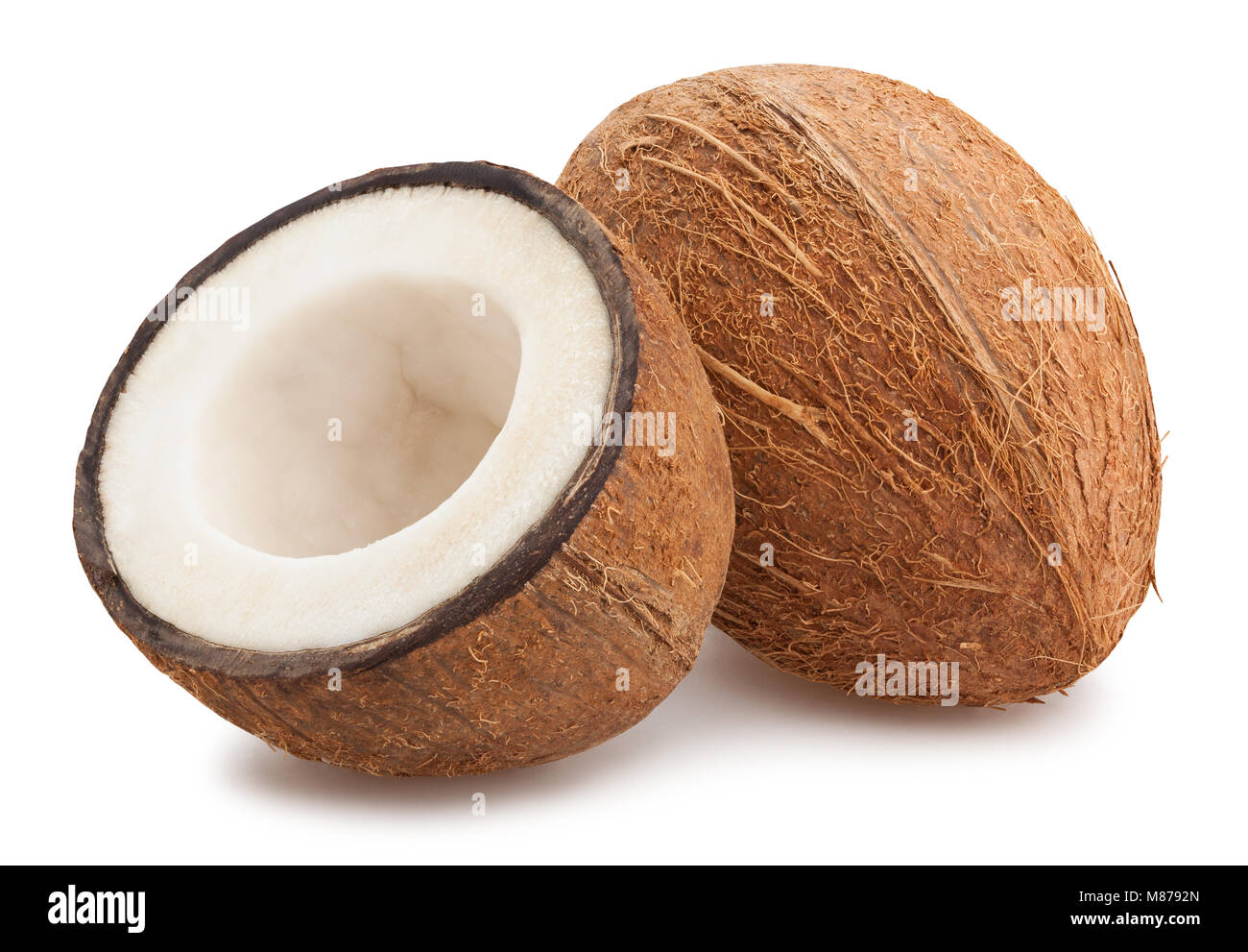 sliced coconut path isolated - Stock Image