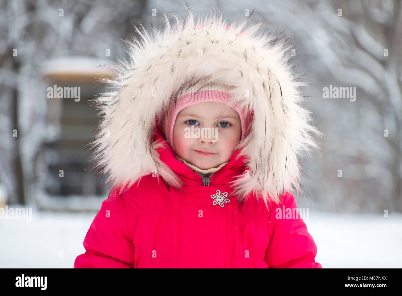 Little cute girl in a big fur hood in winter - Stock Image