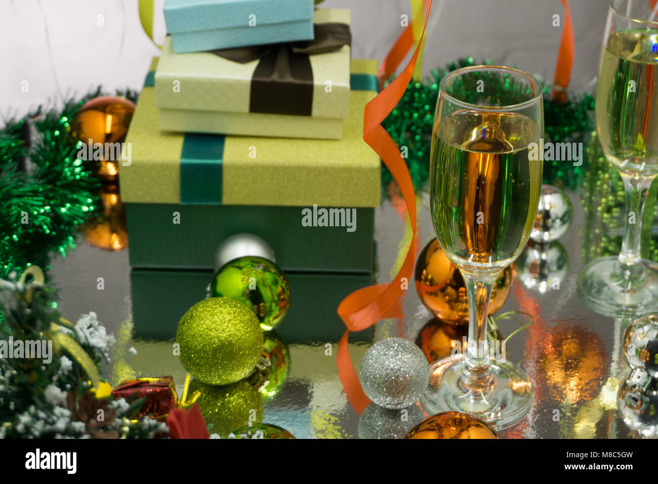 Glasses Champagne Christmas Gifts On Stock Photos & Glasses ...