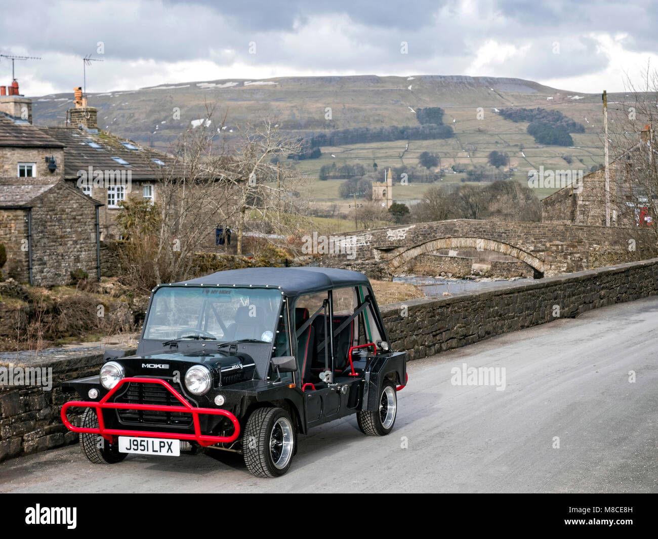 Mini Moke in Gayle near Hawes North Yorkshire UK - Stock Image
