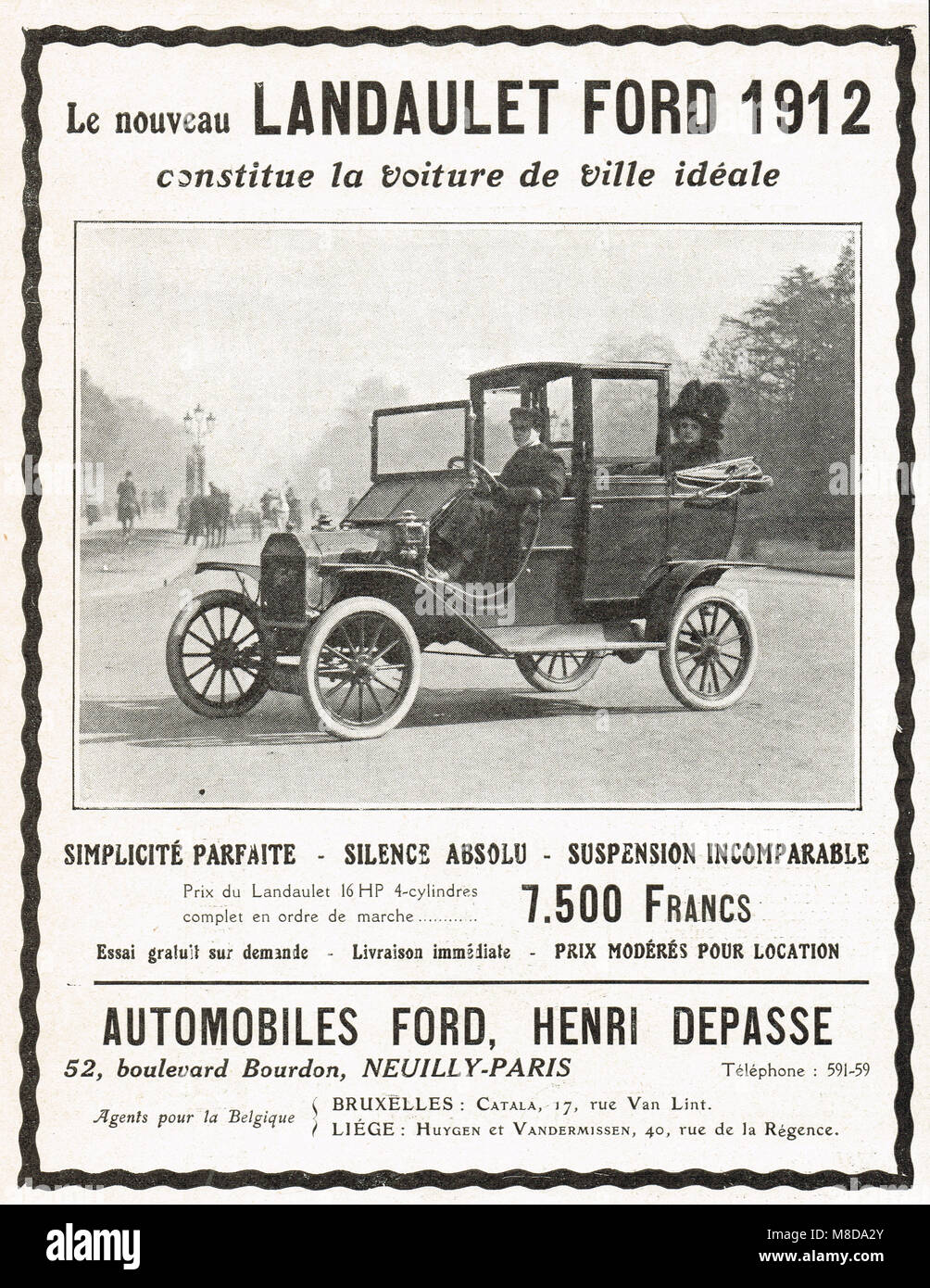 French language advert, Ford landaulet, 1912 - Stock Image
