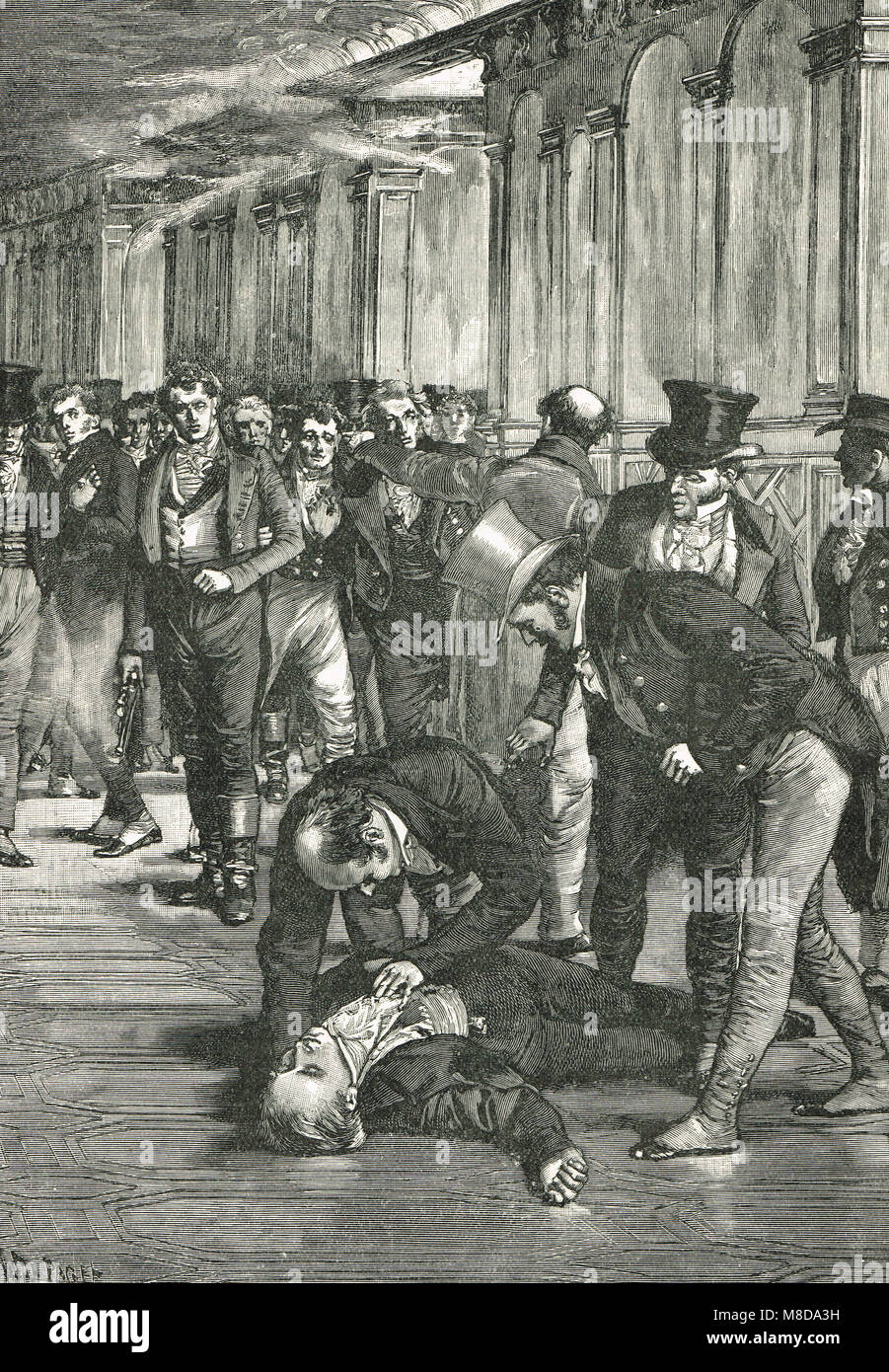 Spencer Perceval assassination, Prime Minister of the United Kingdom, shot and killed in the lobby of the House - Stock Image