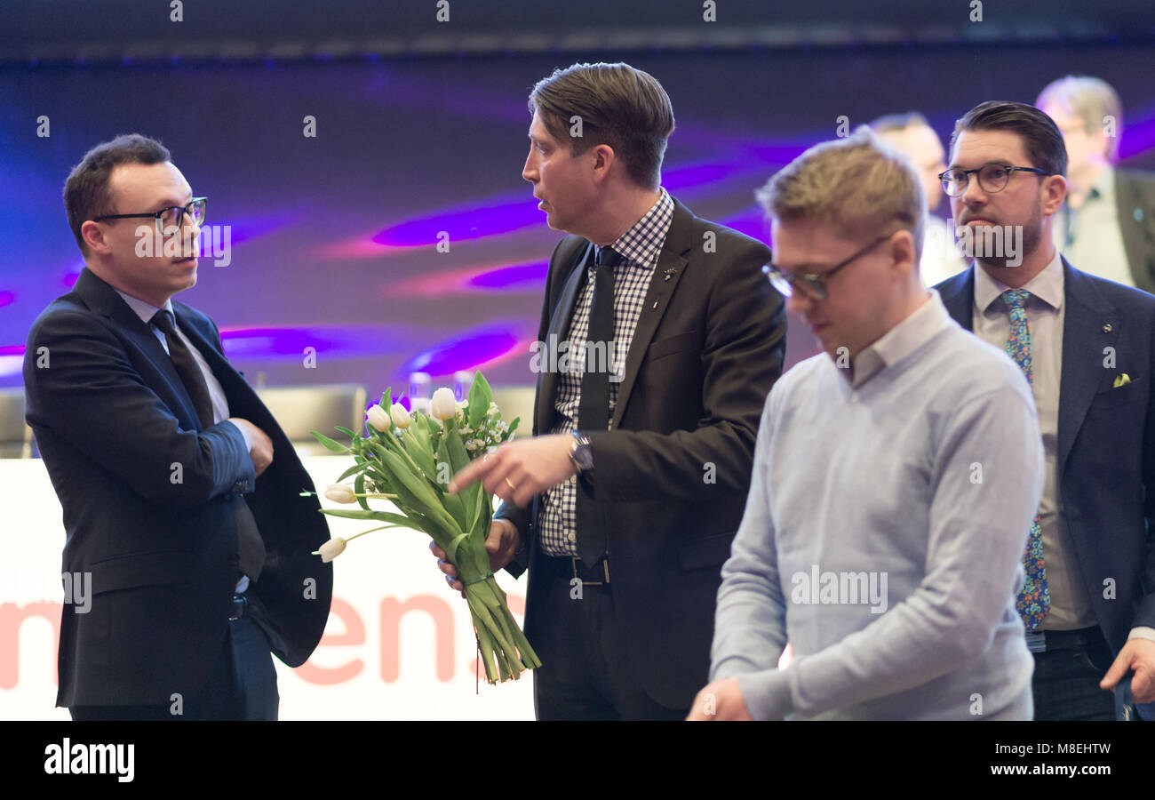 Stockholm, Sweden, March 16, 2018. Sweden Democrats (SD) election conference 2018. from left Joakim Wallerstein, - Stock Image