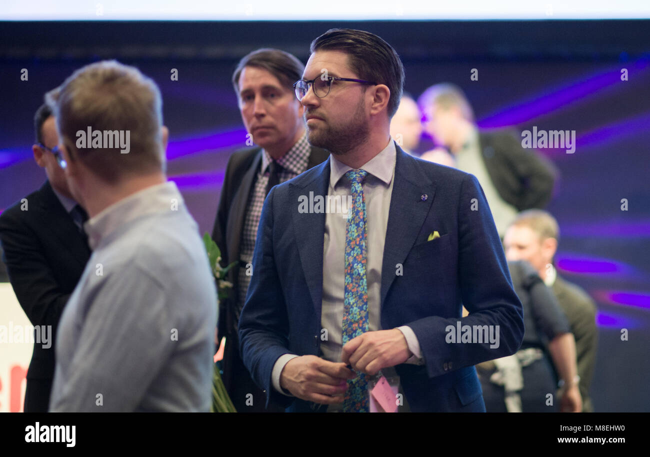Stockholm, Sweden, March 16, 2018. Sweden Democrats (SD) election conference 2018. Jimmie Akesson, (SD) party leader. - Stock Image