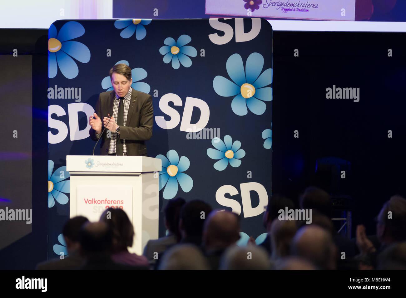 Stockholm, Sweden, March 16, 2018. Sweden Democrats (SD) election conference 2018. Richard Jomshof, (SD) Member - Stock Image