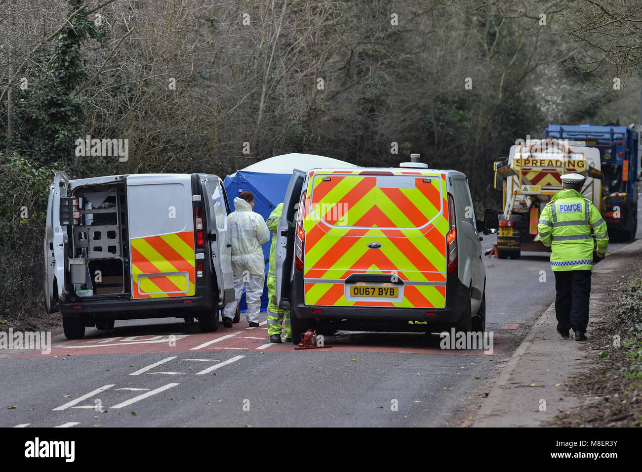 Henley, United Kingdom. 17 March 2018. Police officers were called to the A4155 at 5.29am today after reports of - Stock Image