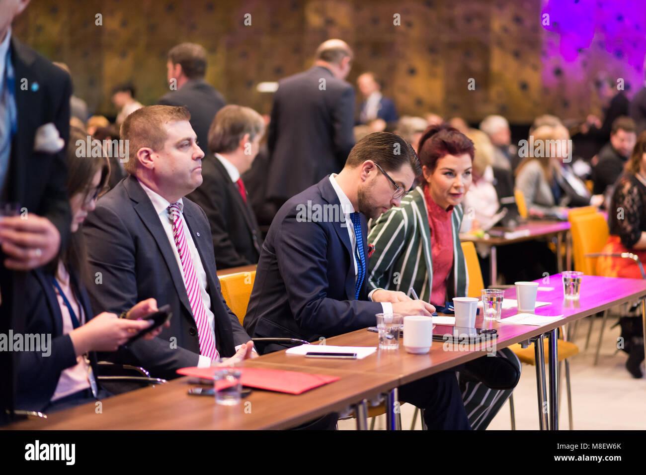 Stockholm, Sweden, March 17, 2018. Sweden Democrats (SD) Election Conference 2018. Political Secretary Mikael Eriksson, - Stock Image