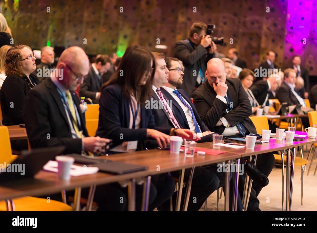 Stockholm, Sweden, March 17, 2018. Sweden Democrats (SD) Election Conference 2018. MP Sven-Olof Sallstroem (right), - Stock Image