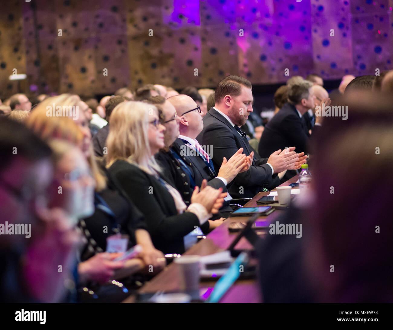 Stockholm, Sweden, March 17, 2018. Sweden Democrats (SD) Election Conference 2018. Group Leader,  Mattias Karlsson. - Stock Image