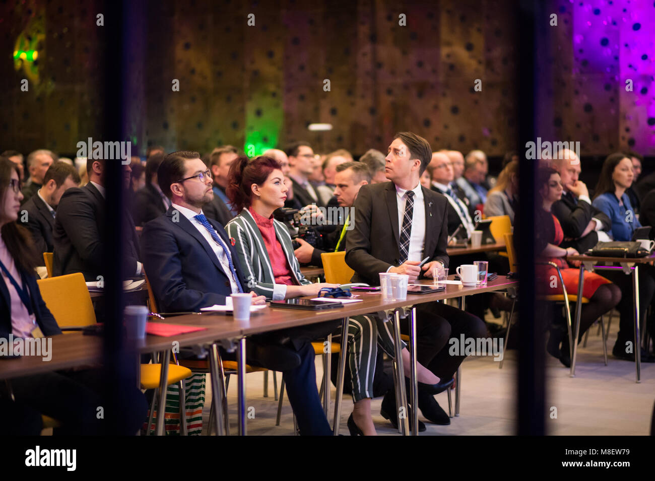 Stockholm, Sweden, March 17, 2018. Sweden Democrats (SD) Election Conference 2018. Party Leader Jimmie Akesson, - Stock Image