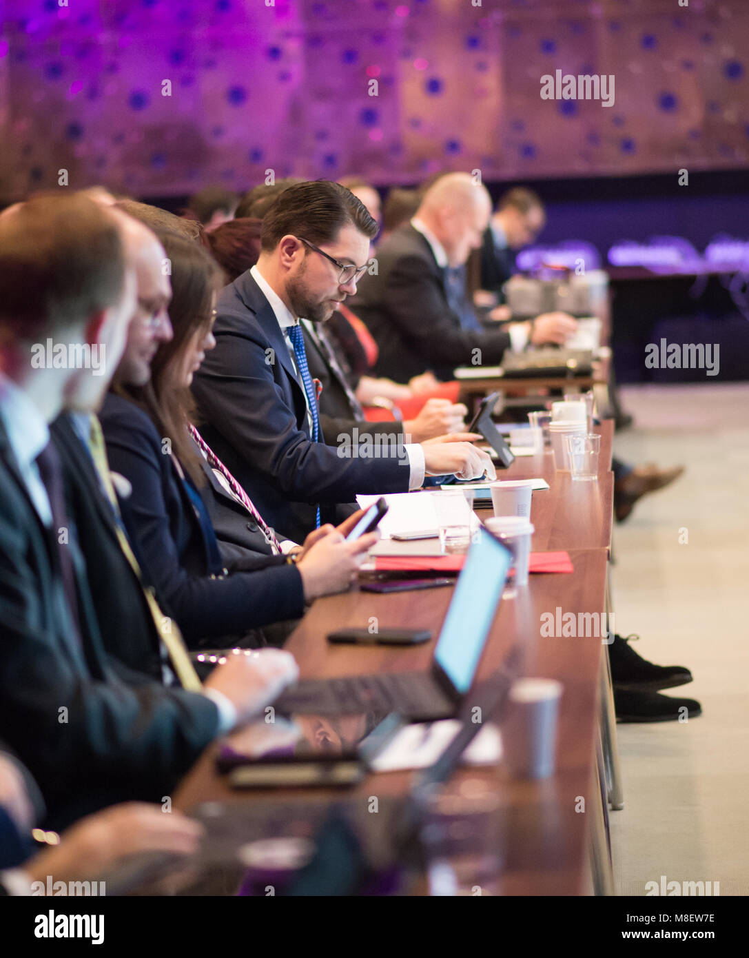 Stockholm, Sweden, March 17, 2018. Sweden Democrats (SD) Election Conference 2018. Party Leader Jimmie Akesson. - Stock Image