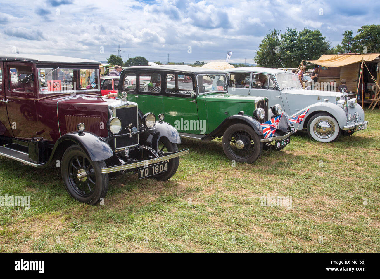 A display of vintage Morris and Austin cars at the 2017 Norton Stock ...